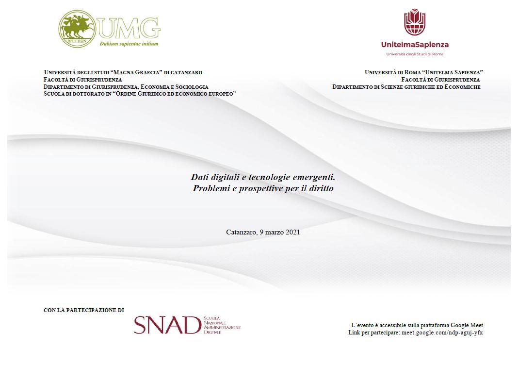Dati digitali e tecnologie emergenti. Problemi e prospettive per il diritto