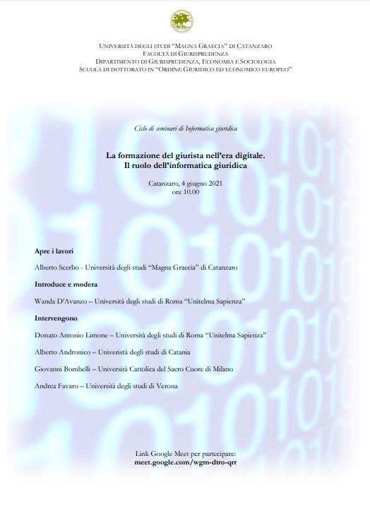 La formazione del giurista nell'era digitale. Il ruolo dell'Informatica giuridica